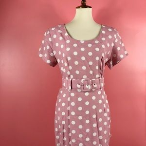 Vtg 90s Polka Dot Maxi Button Wiggle Dress SM